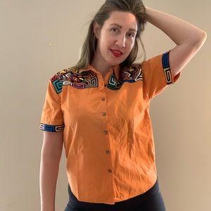 Vintage Tops - Vintage Southwestern Bird Button Down Orange Shirt